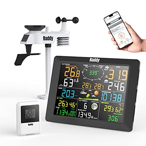 Raddy WF-100C Stazione Meteo Professionali con Sensore Esterno, Termometro e Sensori di Umidità per Interni ed Esterni, Perfetta per la Casa, con Ampio Display, Pluviometro