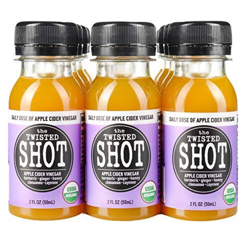 The Twisted Shot   Organic Apple Cider Vinegar Shots with Turmeric, Ginger, Cinnamon, Honey & Cayenne   Immunity Boost   Wellness   Digestive Aid   Improve Metabolism   Detox   12-Pack of 2oz Shots