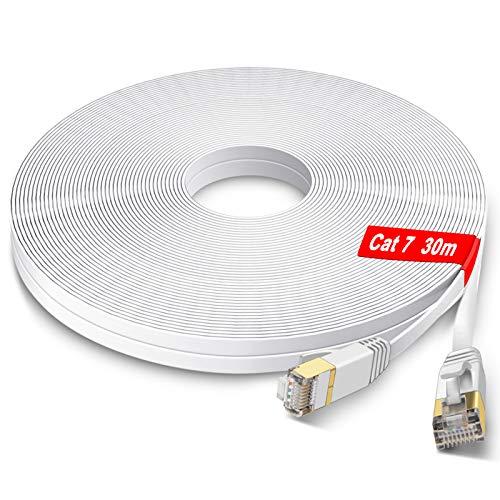 GLCON – 30m CAT 7 LAN Kabel 30meter Netzwerkkabel Hochgeschwindigkeits 10000Mbit/s Gigabit Ethernet-Kabel Cat.5e Cat.6 Cat.7 RJ45 Internet Patchkabel für PC PS5 Xbox Switch Modem