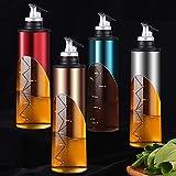 Botella dispensador de aceite de oliva de acero inoxidable para aceite de vidrio de cocina y dispensador de vinagre de 650 ml Set de dispensador de salsa de soja con etiqueta y embudo. (azul)