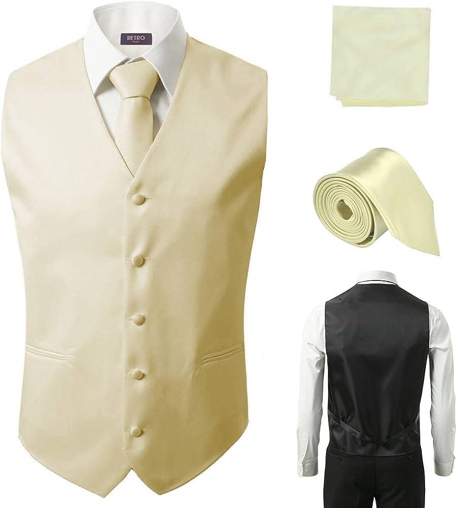 3 Pcs Vest + Tie + Hankie Ivory Fashion Men's Formal Dress Suit Waistcoat
