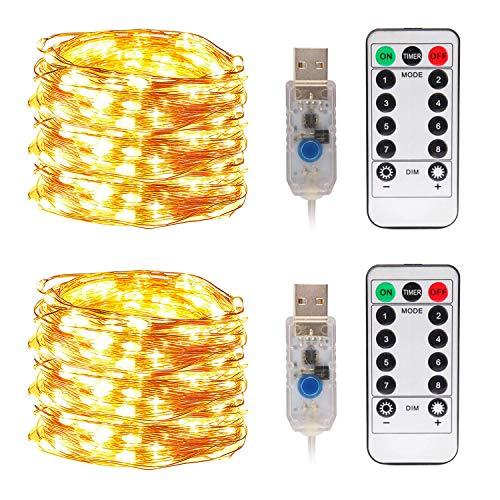 LED Lichterkette, Zorara 2er 10m 100 LEDs Lichterketten, USB Lichtervorhang Wasserdicht 8 Modi für Innen und Außen, Weihnachten, Party, Kinderzimmer, Zimmer DIY Deko Lichterkettenvorhang (Warmweiß)