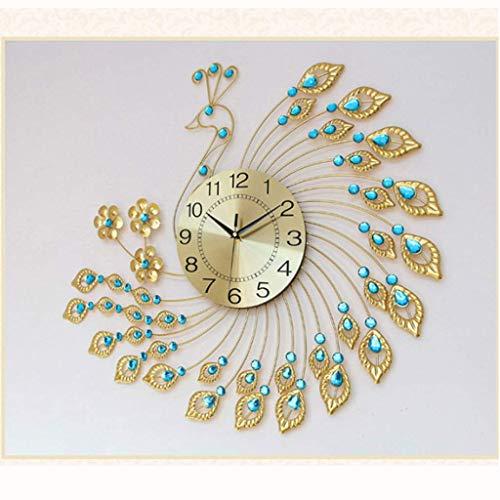 ZCZZ Reloj de Escritorio Reloj de Pared con Forma de Pavo Real, Reloj Creativo Simple en la Sala de Estar, Reloj de Mesa de Cuarzo silencioso con Personalidad Europea