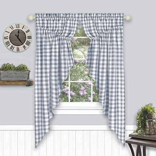 GoodGram 2 Pack Country Farmhouse Plaid Gingham Check Swag Valance Curtain Panels- Assorted Colors (Gray)