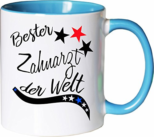 Mister Merchandise Becher Tasse Bester Zahnarzt der Welt. Kaffee Kaffeetasse liebevoll Bedruckt Beruf Job Arbeit Weiß-Hellblau