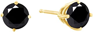 1/2 cttw to 2 cttw Black Diamond Stud Earrings in 14K Solid Gold