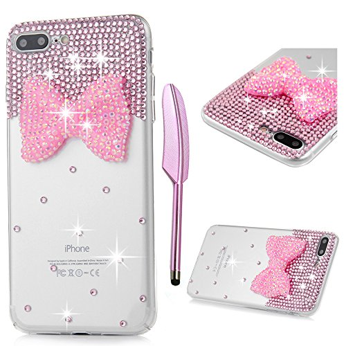"""iPhone 7 Plus Case, iPhone 8 Plus Case (5.5"""") - Crystal Clear Transparent Handmade Bling Shiny Crystal Diamond Design PC Hard Shell Full Protective Case Cover for iPhone 7/8 Plus, Butterfly Bow"""