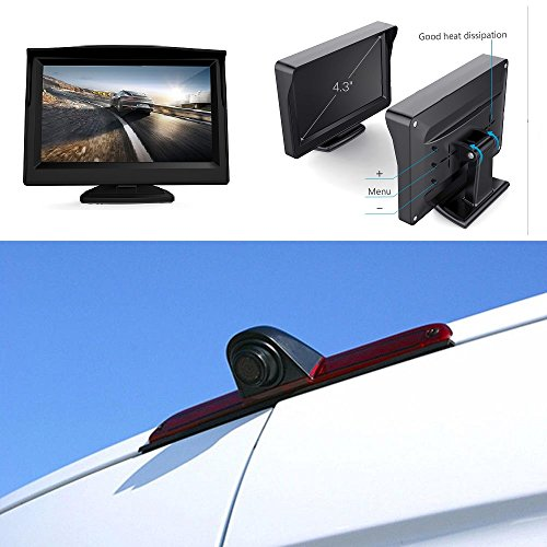 "HD 720p Dachkante Einparkhilfe Rückfahrkamera integriert in 3. Bremsleuchte Kamera für MB W906 Sprinter Transporter VW Crafter + 4,3\"" Zoll DVD Monitor TFT Bildschirm Rückfahrkamera KFZ LCD Display"