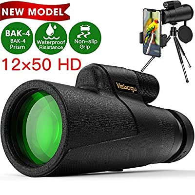 Monocular Telescope, 12x50 High Power HD Monocular for Bird Watching Adults with Smartphone Holder & Tripod BAK4 Prism for Wildlife Hunting Camping Travelling Wildlife - 2020 Newest (1250, Black) from Vabogu