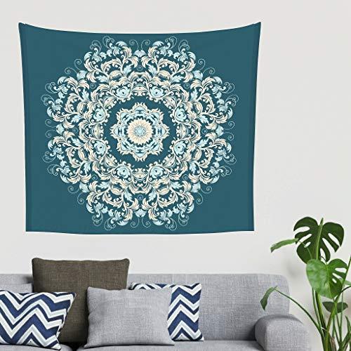 O5KFD & 8 Teal Mandala patroon wandbehang kleine yogahoek - etnische stijl voor moederdaggeschenk wit 230x150cm