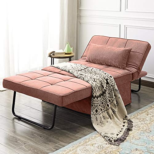 Vonanda Ottoman Sleeper Chair Bed,Mid-Century Soft Tufted Velvet Folding Sofa Bed with Unique Sense of Gloss,Convertible Couch Recliner for Living Room and Home office,Velvet Salmon Pink…