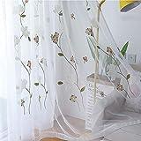 HM&DX Bordado Ventanas Cortinas Voile,filtrado De Luz Cortinas Translucidas Visillo Largo,Moderno Decorativo Cortinas De Tul Salon Habitación Blanco Ojales 150x260cm(59x102in)