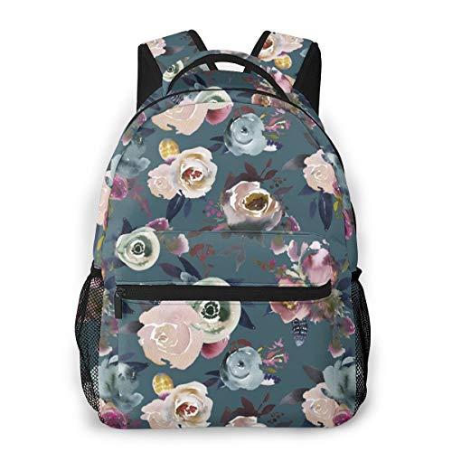 Julie Alcott Indigo Floral Jade Laptop Schoolbag Casual Super Durable Backpack Lightweight Travel Sports Backpack Unisex