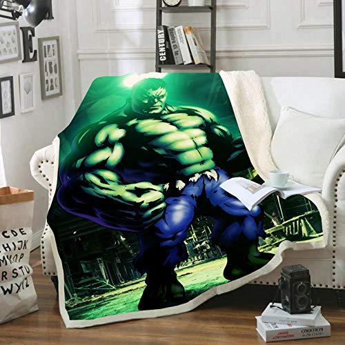 YZHY Marvel Avengers Coperta in pile per bambini, Hulk Capitan America, Iron Man, coperta in peluche per bambini, per adulti, divano, campeggio, viaggi (130 x 150 cm)