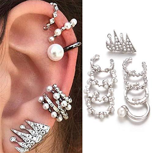 LUOSI 9pcs / Set Silver Color Vintage Ear Publy Wrap Wrap Pearl Clip En Pendientes Piercing Falso Declaración Pendientes (Metal Color : Style 1)