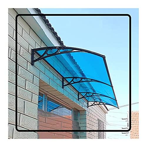 QIANDA Policarbonato Marquesina De Puertas, Protección UV Toldo Tejadillo Protección Anti-envejecimiento Ningun Ruido Refugio De Lluvia por Jardín Terraza Entrada, Azul