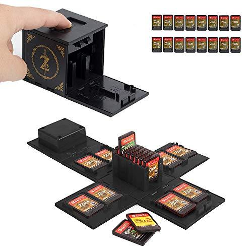 JEETA Étui pour Carte mémoire Nintendo Switch, de Rangement de Protection Organisateur de Cartes de Jeu Étui Rigide avec 16 emplacements,Étui de Rangement pour Jeux Nintendo Switch (Zelda Noir)