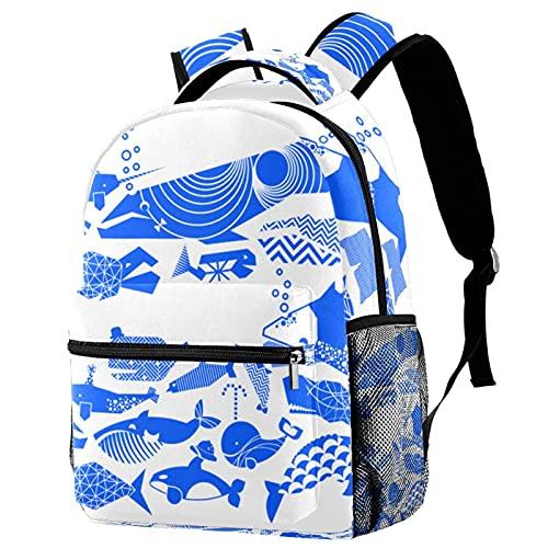 XiangHeFu Mochila escolar para niñas niño caminata al aire libre bolsa de viaje mochila Un desfile cetáceo geométrico azul brillante por Aldea Mochila estampada