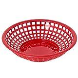 Black Duck Brand 9.5-Inch Round Plastic BPA Free BBQ Food Burger Restaurant Picnic Food Baskets (Red; 10 Baskets)
