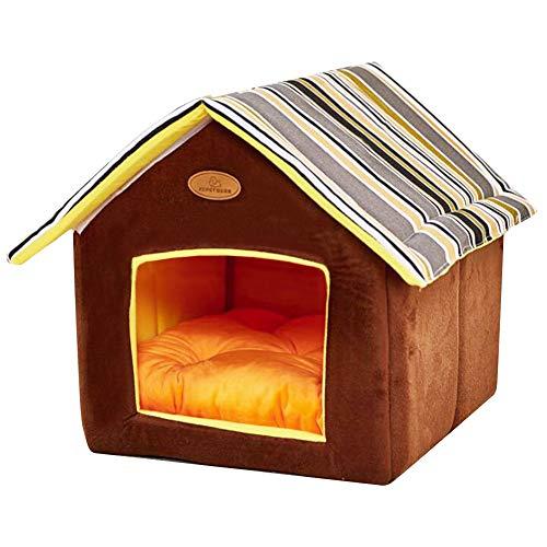 PowerKing Cueva de Gato, Perro Mascota Plegable y Cama de Gato con cojín, casa de Cama Interior de Cachorro de Gato (marrón)