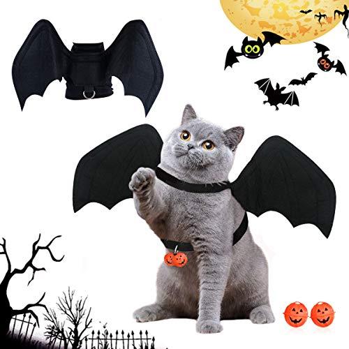 BoloShine Disfraz de Perro de Murciélago de Halloween, Alas de Murciélago de Perro, Cosplay de Murciélagos de Moda para Gatos y Perros con Campana de Calabaza para decoración de Cosplay Halloween