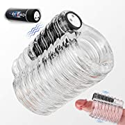 Vibrating Male Masturbator,Orlupo Open-Ended Crystal Stroker with Detachable Bullet Vibrator Double Texture Penis Vibrator Male Masturbator Cup with 9 Vibration,Adult Male Sex Toys for Men and Couples