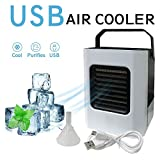 Personal Space Air Conditioner, Personal Space Air Cooler - 4 in 1 Mini USB Air Conditioner Fan, Purifier, Sterilizer, Humidifier, Desktop Cooling Fan with 3 Speeds for Home Room Office