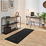 Carpet Studio Ohio Alfombra Pasillo 67x180cm, Alfombras para Dormitorio, Cocina & Pasillo, Fácil de Limpiar, Superficie Suave, Pelo Corto - Gris Oscuro