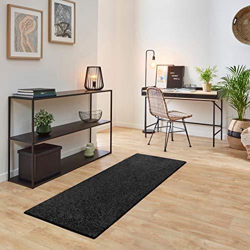 Carpet Studio Ohio Teppich Läufer 67x180cm, Weicher Kurzflor Teppich Läufer Flur, Schlaffzimmer, Wohnzimmer & Küche, Pflegeleicht, Geruchsneutral - Anthrazit