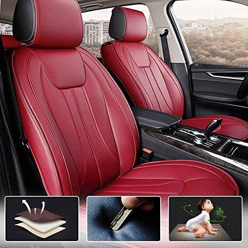 Muchkey 5-Sitze Alle Jahreszeiten Leder Auto Sitzbezügesets Autositzauflage wasserdicht für Audi S3 S5 S6 S7 S8 Q2 Q3 Q5 Q7 Zubehör für Autositze Stil E rot