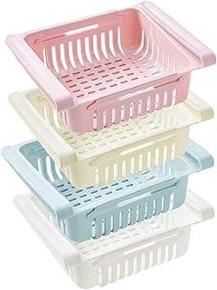 Adjustable Storage Rack Refrigerator Partition Layer Organizer,Retractable Fridge Drawer Organizer, Refrigerator Storage B...
