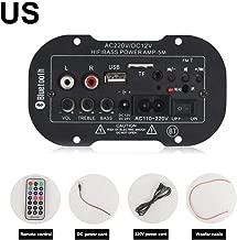 Prom-near Amplifier Board Bluetooth Digital Power Amplifier Board USB DAC FM Radio TF Player Subwoofer Car Amplifier Home, Suitable for Car, DIY Speakers