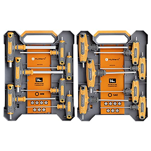 Mulwark 14 PC T-handle Allen Wrench Set Metric and Standard, T Handle Hex Key Set with Storage Box, Two-Tip Design and Chamfered Tips