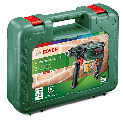 Bosch Perceuse à Percussion Filaire - Universalimpact 800 (800w, Béton 14mm, Bois 30mm, Livré avec Accessoires) Vert