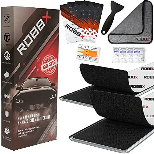 ROBBX® 2x Klett Kennzeichenhalter rahmenlos |selbstklebend u. absolut wetterfest | Auto Nummernschildhalter Set | sportliche KFZ Kennzeichenhalterung
