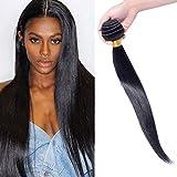Tissage Bresilien Cheveux Humain Meche Bresilienne Lisse Extensions Cheveux Naturel Pas Cher #1B Noir Naturel 100g - 45cm