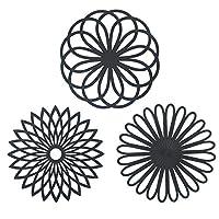 flintronic tappetino sottopentola, utensile da cucina multiuso in silicone, sottopentola a forma di fiore set di 3, resistente al calore fino a 250°c, lavabile in lavastoviglie, multifunzione(nero)