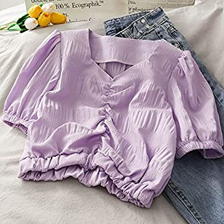 Wanxiaoyyyindx T Shirts for Women, White Shirt Women's Puff Sleeve Short Blouse Women's Tunic Top Chiffon Top Clothes Fash...