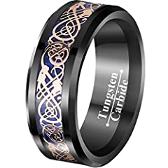 18K Rose Gold Plated Celtic Dragons Black Tungsten Wedding Ring with Blue Background 8mm Wide and Conform Fit Finish on the Inside of the Ring for more Comfortable Wear. All of Tungsten Rings are Cobalt Free, Hypoallergenic, High Polish, Scratch Resi...