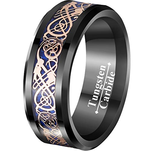 VIVI&JOE 8mm Black & Blue Tungsten Wedding Ring with Rose Gold Celtic Dragon Vintage Engagement Anniversary Bands Knot Jewelry Size 7