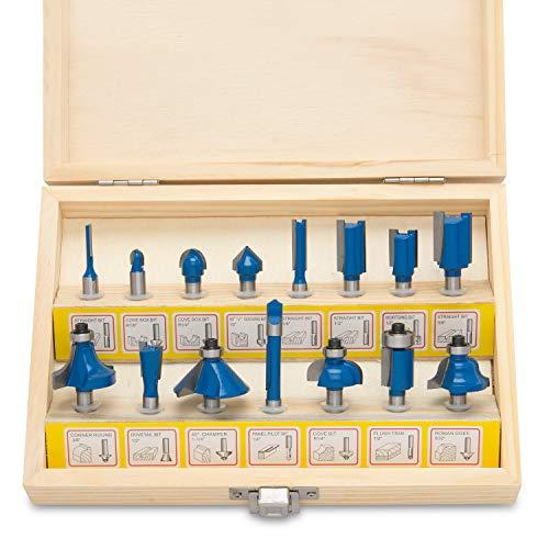 Hiltex 10100 Tungsten Carbide Router Bits | 15-Piece Set , Blue