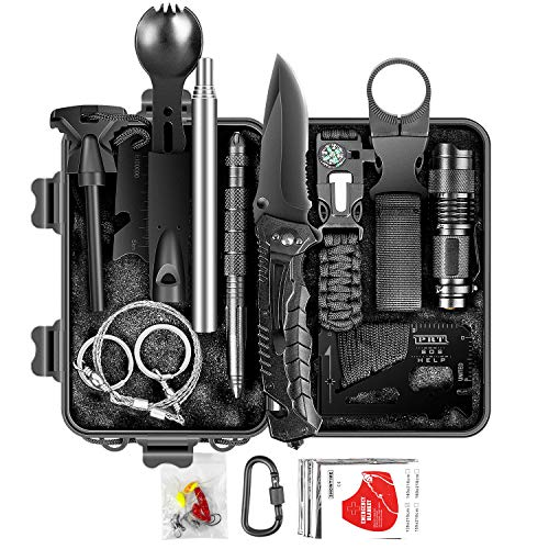 Limechoes Survival Kit,15 in 1 Emergency Survival Kit and Equipment Tools, Professional Survival Gear for Camping, Hiking. Adventure Outdoors Sport. Creative &Cool Birthday Gifts for Men.