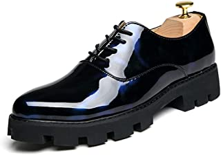 Sygjal Men's Business Oxford Casual Personality Trend New British Style Color Outsole Dress Shoes (Color : Black Blue, Size : 43 EU)