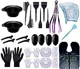 Teinture pour les Cheveux Kit de Outils de Coloration (26pcs),Kit Teinture Cheveux Outil de Coloration des Cheveux,Accessoires pour colorations,Kit de Outils de Coloration Avec Pinceau pour DIY Salon