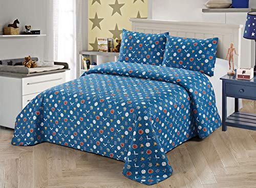 Better Home Style Blue Baseball MVP Champions Sports Themed Kids/Boys/Toddler 3 Piece Coverlet Bedspread Quilt Set with Pillowcases # Baseball (Queen/Full)