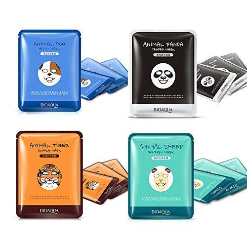 Oshide 4 Stück Feuchtigkeitsspendende Gesichtsmaske Mix Tiger/Panda/Ziege/Hund Maske Fördert die Hautdurchblutung Whitening Ölkontrolle Maske