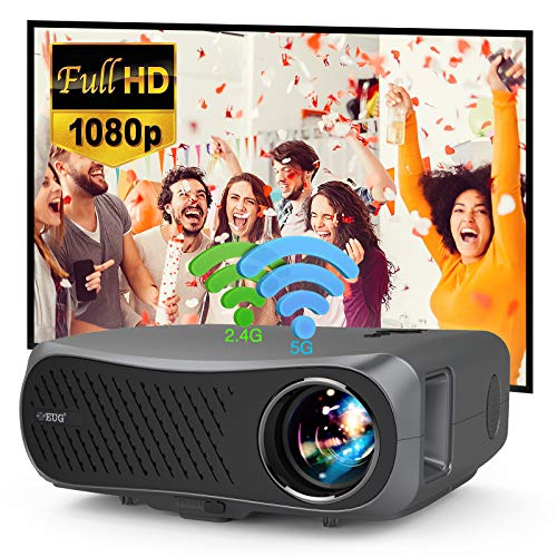 Full HD 5G WiFi Bluetooth Porjector Support 4K,7200 Lumen LED LCD Native 1080p Home Theater 200 Inch Widescreen Wireless Outdoor Movie Projector with Screen Mirroring Zoom HDMI USB for Laptop Tablet
