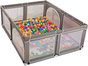 Baby Playpen SYY Playpens with Crawling Mat  amp  Breathable Mesh for Babies Washable Ocean Ball Pool Suitable for Babies Infant Safe Crawling  Color Gray  Size 150cmx180cm