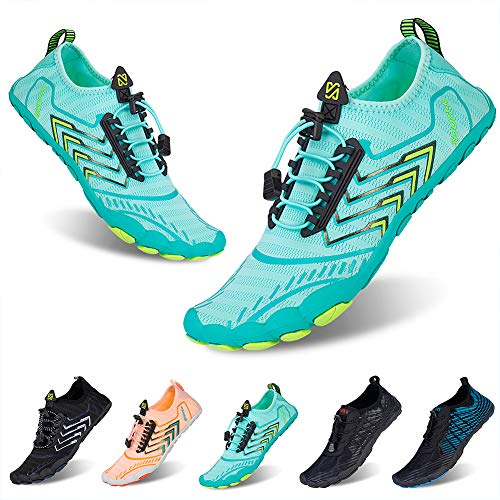 Water Shoes Mens Womens Beach Quick Dry Swim Barefoot Shoes Aqua Sock Outdoor Athletic Pool Shoes for Kayaking, Swimming, Surfing, Yoga, Fishing(3011Green,40EU)