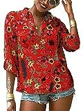 OOGUDE Blusa casual para mujer, estampado floral, cuello en V, con botones, manga larga, solapa y túnica de playa, rosso, XXXL